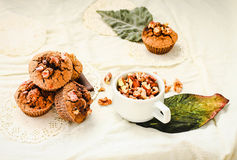 Chocolate brownies muffins with walnuts,  vegan autumn baking Royalty Free Stock Photo