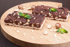 Chocolate brownies with nuts. Closeup, horizontal Royalty Free Stock Images