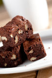 Chocolate brownies with pecan nut on plate Stock Photography