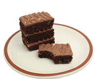 Chocolate Brownies on a Plate Royalty Free Stock Image
