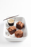 Chocolate Brownies On Plate Served With Espresso Shot Stock Photo