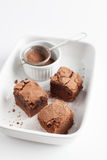 Chocolate Brownies On Plate Served With Vintage Sifter Royalty Free Stock Photo