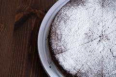 Chocolate brownies  with powdered sugar Royalty Free Stock Photo