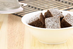 Chocolate brownies with powdered sugar on top Stock Photography