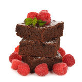 Chocolate brownies with raspberries Royalty Free Stock Image