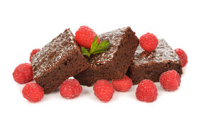 Chocolate brownies with raspberries Royalty Free Stock Photo