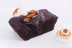 Chocolate brownies on the white background royalty free stock photography