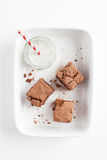 Chocolate Brownies On White Plate Served With Milk Royalty Free Stock Photography