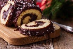 Free Chocolate Buche De Noel Dessert Log Stock Photo - 129658040