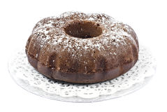 Chocolate Bundt Cake. On a silver tray Royalty Free Stock Photos