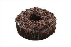 Chocolate bundt cake. Isolated on a white background with clipping path Royalty Free Stock Photos