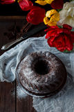 Chocolate bundt cake Stock Images