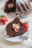 Chocolate bundt cake. Home made chocolate bundt cake Royalty Free Stock Photo