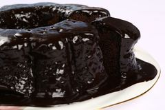 Chocolate Bundt Cake. A chocolate bundt cake with chocolate icing running down the sides Royalty Free Stock Photo