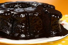 Chocolate Bundt Cake. A chocolate bundt cake with chocolate icing running down the sides Royalty Free Stock Images