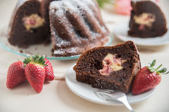 Chocolate bundt cake. With strawberry cheesecake filling Stock Photography