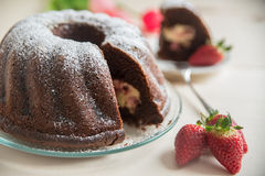 Chocolate bundt cake. With strawberry cheesecake filling Stock Images