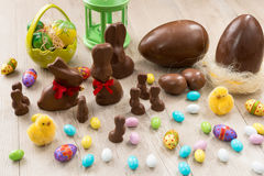 Chocolate bunnies and Easter eggs Royalty Free Stock Photography