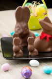 Chocolate bunnies and Easter eggs Stock Images