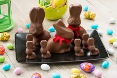 Chocolate bunnies and Easter eggs Stock Photography