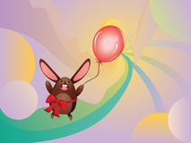 Chocolate Bunny with Balloon Stock Photography