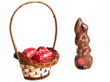 Chocolate bunny and Easter eggs Royalty Free Stock Photos
