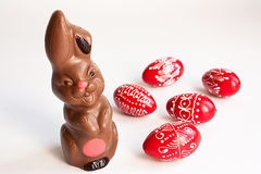 Chocolate bunny and Easter eggs Royalty Free Stock Photo