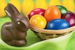 Chocolate bunny and Easter eggs Royalty Free Stock Images