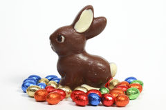 Chocolate bunny with eggs Stock Photography