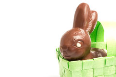 Chocolate bunny in a basket Royalty Free Stock Photos