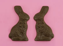 Chocolate Bunny Love. Chocolate Bunnies on Pink Background Stock Images