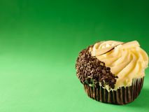 Chocolate and Buttercream Cupcake on Green Background Royalty Free Stock Image