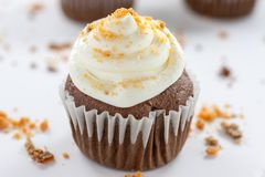 Chocolate Butterfinger Cupcakes. Chocolate cupcakes wirh a buttercream icing and crushed Butterfinger candy on top Stock Photos
