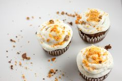 Chocolate Butterfinger Cupcakes. Chocolate cupcakes wirh a buttercream icing and crushed Butterfinger candy on top Stock Image