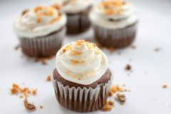 Chocolate Butterfinger Cupcakes. Chocolate cupcakes wirh a buttercream icing and crushed Butterfinger candy on top Royalty Free Stock Photo