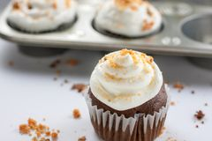 Chocolate Butterfinger Cupcakes. Chocolate cupcakes wirh a buttercream icing and crushed Butterfinger candy on top Stock Images