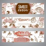 Chocolate cacao sketch banners. Design menu for restaurant, shop, confectionery, culinary, cafe, cafeteria, bar. Cocoa. Beans line icon or emblem. Vector Royalty Free Stock Image