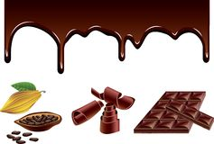 Chocolate and cacao vector set Royalty Free Stock Images