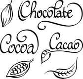 Chocolate, cacau, texto do cacau Fotografia de Stock Royalty Free