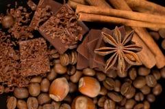 Chocolate, café, especiarias e porcas Foto de Stock