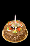 Chocolate Cake. A scrumptious chocolate birthday cake adorned with strawberries royalty free stock photo
