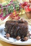 Chocolate cake. Chrismas dessert - chocolate cake with nuts an poppy Royalty Free Stock Photo