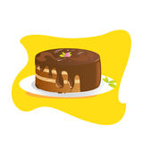 Chocolate Cake. Eps8 with layers, easy to edit Royalty Free Stock Image