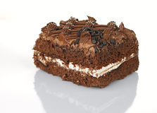 Chocolate cake. Closeup, isolated on a white background Stock Images