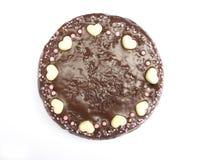 Chocolate cake. On white background royalty free stock image
