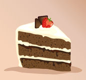 Chocolate cake. A slice of white and dark chocolate cake with a strawberry on top Royalty Free Stock Photography