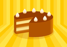 Chocolate cake. On a striped background Royalty Free Stock Photos
