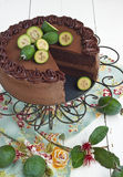 Chocolate cake. Rich chocolate cake with chocolate mousse decorated with feijoas. French country style with rustic wooden table, old blue napkin and antique wire royalty free stock photos