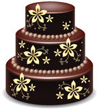 Chocolate cake. Vector big delicious chocolate cake with flowers Stock Photo