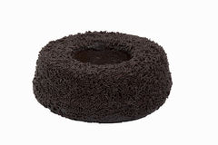 Chocolate cake. A delicious chocolate cake in a white background Stock Image